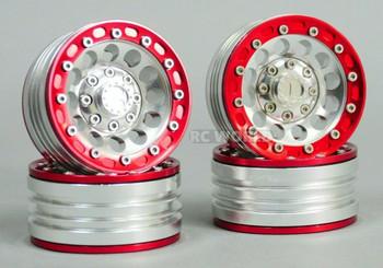 1/10 Metal TRUCK WHEELS 1.9 Beadlock Rims V1 Silver Rim + Red Rings (4pcs)