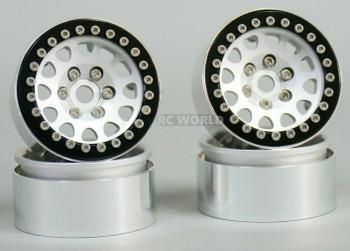 1/10 Metal TRUCK WHEELS 1.9 Beadlock Rims V2 Silver Rim + Black Rings (4pcs)