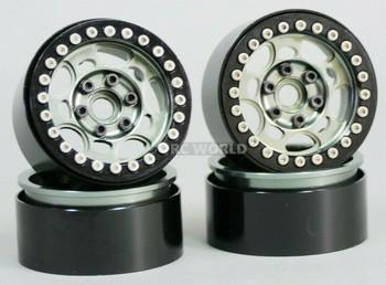 1/10 Scale Metal TRUCK WHEELS 1.9 Beadlock Rims G1 Gun Rim + Black Rings 4pcs