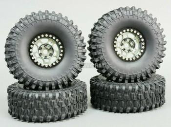 1/10 Metal 1.9 Truck Beadlock Rims + 120mm TIRES  G1 Gun Metal Rim + Black Rings