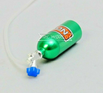 RC 1/10 Scale Accessories METAL NITROUS NOS Bottle w/ Line - GREEN -