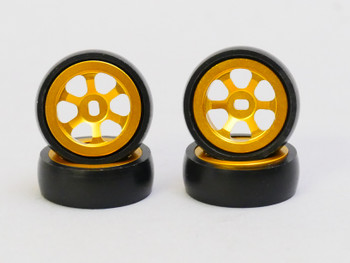 1/28 Mini Z Aluminum Drift Rim Set Front + Rear 20x8mm w/ Drift Tires -GOLD-