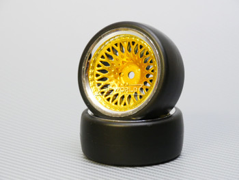 1/10 DRIFT WHEELS 9MM Offset GOLD Mesh W/ Chrome LIP *4pcs*