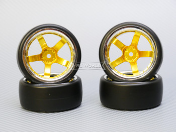 1/10 DRIFT WHEELS 9MM Offset GOLD 5 Star  W/ Chrome LIP *4pcs*