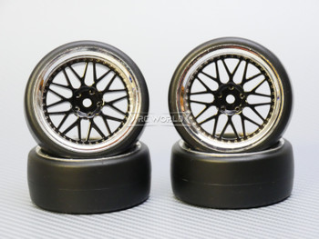 1/10 DRIFT WHEELS 3MM Offset BLACK 3 Piece  W/ Chrome LIP *4pcs*