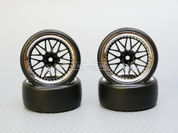 1/10 DRIFT WHEELS 6MM Offset BLACK 3 Piece  W/ Chrome LIP *4pcs*