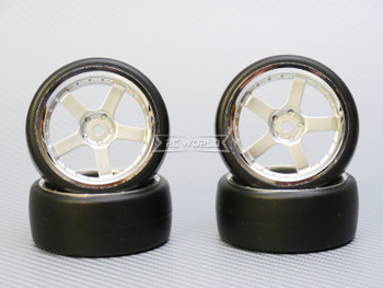 1/10 DRIFT WHEELS 3MM Offset SILVER 5 Star  W/ Chrome LIP *4pcs*