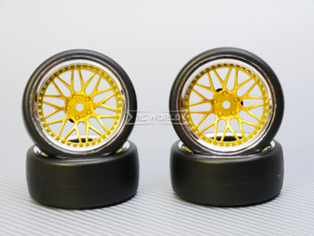 1/10 DRIFT Wheels 6MM Offset GOLD 3 Piece  W/ Chrome LIP *4pcs*