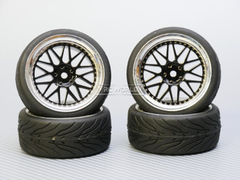 1/10 STREET Wheels 3MM Offset BLACK 3 Piece W/ Chrome LIP *4pcs*