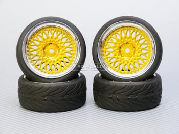 1/10 STREET Wheels 3MM Offset GOLD Mesh W/ Chrome LIP *4pcs*