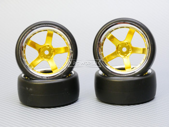 1/10 DRIFT Wheels 6MM Offset GOLD 5 Star  W/ Chrome LIP *4pcs*