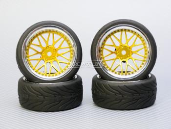 1/10 STREET Wheels 6MM Offset GOLD 3 Piece W/ Chrome LIP *4pcs*