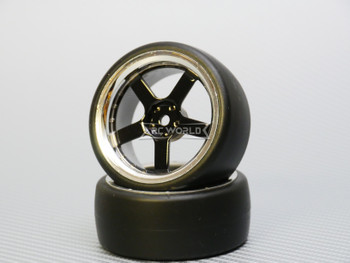 1/10 DRIFT Wheels 3MM Offset BLACK 5 Star  W/ Chrome LIP *4pcs*