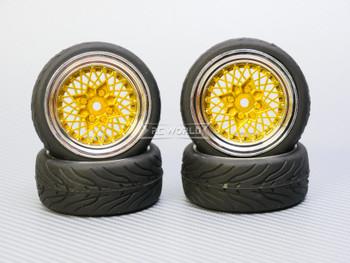 1/10 STREET Wheels Vintage 3MM Offset GOLD Work Mesh W/ Chrome LIP *4pcs*