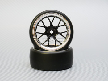 1/10 DRIFT Wheels 3MM Offset BLACK  Web W/ Chrome LIP *4pcs*