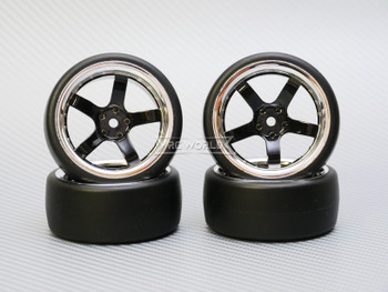 1/10 DRIFT Wheels 6MM Offset BLACK  5 Star W/ Chrome LIP *4pcs*
