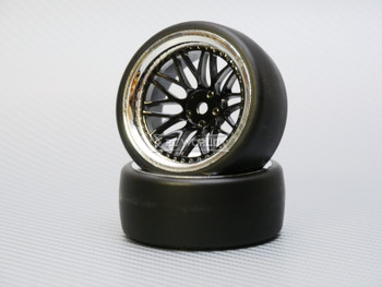 1/10 DRIFT Wheels 9MM Offset BLACK  3 Piece W/ Chrome LIP *4pcs*