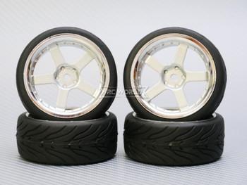 1/10 STREET Wheels 3MM Offset SILVER 5 Star W/ Chrome LIP *4pcs*