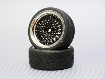 1/10 STREET Wheels 3MM Offset BLACK Mesh W/ Chrome LIP *4pcs*