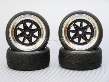 1/10 STREET Wheels Vintage 3MM Offset BLACK Work Star W/ Chrome LIP *4pcs*