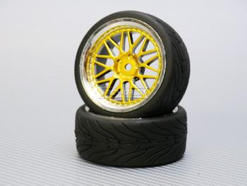 1/10 STREET Wheels 3MM Offset GOLD 3 Piece W/ Chrome LIP *4pcs*
