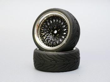1/10 STREET Wheels 6MM Offset BLACK Mesh W/ Chrome LIP *4pcs*