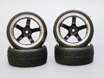 1/10 STREET Wheels 9MM Offset BLACK 5 Star W/ Chrome LIP *4pcs*
