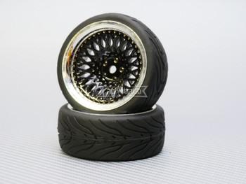 1/10 STREET Wheels 9MM Offset BLACK Mesh W/ Chrome LIP *4pcs*