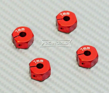 1/10  Anodized Aluminum 7MM WHEEL Spacer 12MM HUB -4 pcs- RED