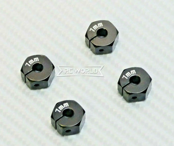 1/10  Anodized Aluminum 7MM WHEEL Spacer 12MM HUB -4 pcs- BLACK