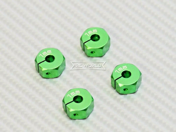 1/10  Anodized Aluminum 7MM WHEEL Spacer 12MM HUB -4 pcs- GREEN