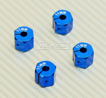 1/10  Anodized Aluminum 11MM WHEEL Spacer 12MM HUB -4 pcs- BLUE