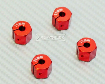 1/10  Anodized Aluminum 11MM WHEEL Spacer 12MM HUB -4 pcs- RED