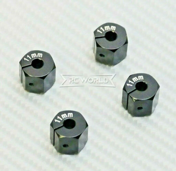 1/10  Anodized Aluminum 11MM WHEEL Spacer 12MM HUB -4 pcs- BLACK