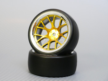 1/10 DRIFT Wheels 9MM Offset GOLD Web W/ Chrome LIP