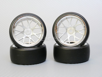 1/10 DRIFT Wheels 6MM Offset SILVER Web W/ Chrome LIP *4pcs*
