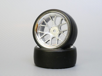 1/10 DRIFT Wheels 6MM Offset SILVER Web W/ Chrome LIP