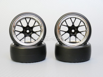 1/10 DRIFT Wheels 9MM Offset BLACK Web W/ Chrome LIP *4pcs*
