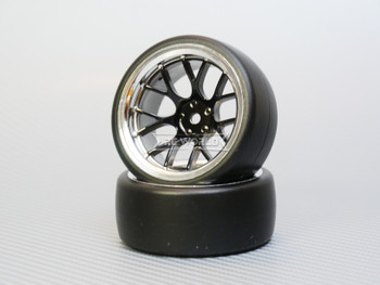 1/10 DRIFT Wheels 9MM Offset BLACK Web W/ Chrome LIP