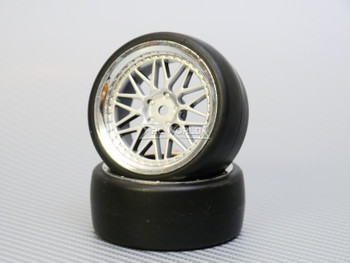 1/10 DRIFT Wheels 3MM Offset SILVER 3 Piece W/ Chrome LIP