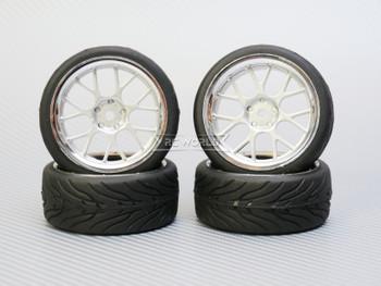 1/10 STREET Wheels 3MM Offset SILVER Web W/ Chrome LIP *4pcs*