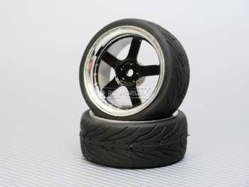 1/10 STREET Wheels 3MM Offset BLACK 5 Star W/ Chrome LIP *4pcs*