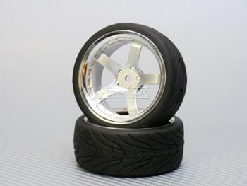 1/10 STREET Wheels 6MM Offset SILVER 5 Star W/ Chrome LIP *4pcs*