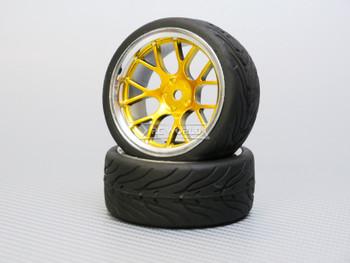 1/10 STREET Wheels 6MM Offset GOLD Web W/ Chrome LIP *4pcs*