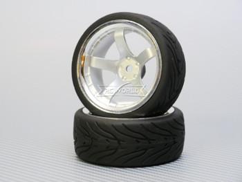 1/10 STREET Wheels 9MM Offset SILVER 5 Star W/ Chrome LIP *4pcs*