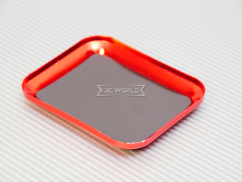 """RC Work TRAY Metal Screw Holder W/ Magnetic Skin 4"""" x 3"""" RED"""