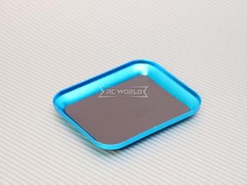 "RC Work TRAY Metal Screw Holder W/ Magnetic Skin 4"" x 3"" BLUE"