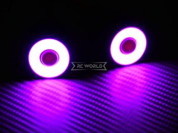 RC LED Head Lights HALO Rings Angel Eye LARGE 22mm PURPLE Halo w/ YELLOW Center