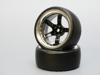 1/10 DRIFT Wheels 9MM Offset BLACK 5 Star  W/ Chrome LIP *4pcs*