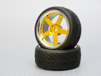 1/10 STREET Wheels 3MM Offset GOLD 5 Star W/ Chrome LIP *4pcs*